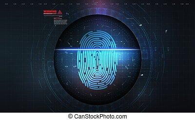 système sécurité, system., biometric, identification, autorisation, concept, balayage, fingerprint.
