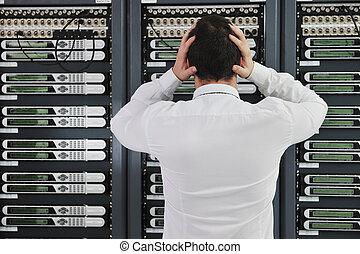 système, salle, échouer, réseau, situation, serveur