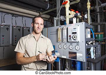 système, technicien, salle, chaudière, inspection, chauffage