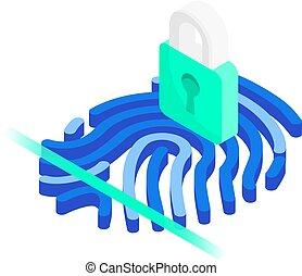 systeem, concept., gesloten, scanner, wit lijnen, vingerafdruk, hangslot, achtergrond, isometric, vrijstaand, identificatie