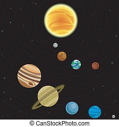 systeem, illustratie, zonne