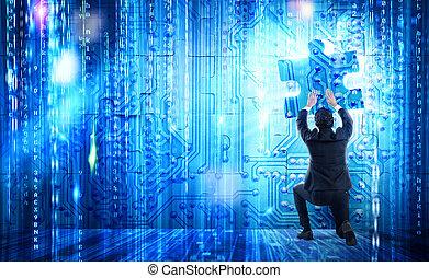 systeem, integratie, concept, met, vermiste fragment, van,...