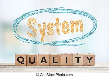 systeem, kwaliteit, meldingsbord, op, een, tafel