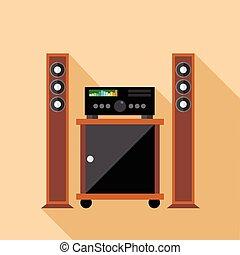 systeem, vector, digitale , hifi, audio, monitors