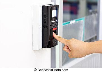 systeem, veiligheid, scanderen, vinger