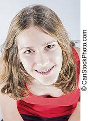 system., исправление, зубоврачебный, подросток, teeth, портрет, улыбается, оральный, девушка