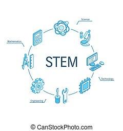 system., 工学, concept., 線, infographic, インテグレイテド, 円, 3d, 数学, 等大, シンボル, 接続される, icons., デザイン, 科学, 茎, 技術