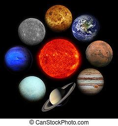 system., 배경., 검정, 행성, 태양의