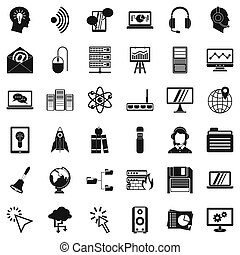 System access icons set, simple style - System access icons...