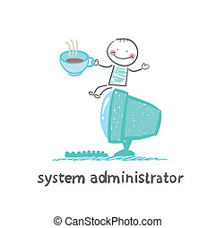 system administrator at the computer drinking coffee