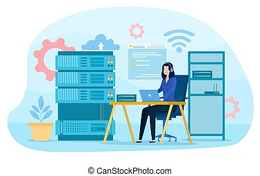 System administrator. Woman working on computer and doing technical work with server. Configuration of computer systems and networks. Cartoon flat vector illustration