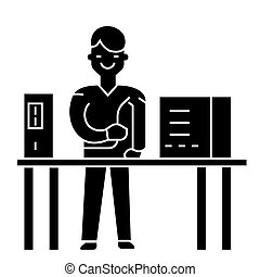 system administrator icon, vector illustration, black sign on isolated background