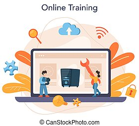 System administrator online service or platform. People working on computer and doing technical work with server. Online training. Isolated flat vector illustration