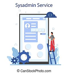 System administrator online service or platform. People working on computer and doing technical work with server. Isolated flat vector illustration