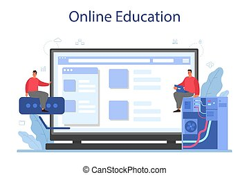 System administrator online service or platform. People working on computer and doing technical work with server. Online education. Isolated flat vector illustration
