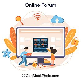 System administrator online service or platform. People working on computer and doing technical work with server. Online forum. Isolated flat vector illustration