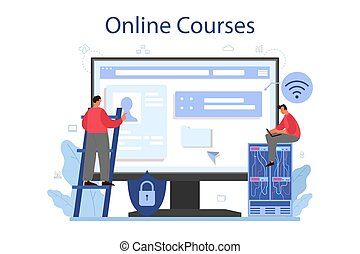 System administrator online service or platform. People working on computer and doing technical work with server. Online course. Isolated flat vector illustration