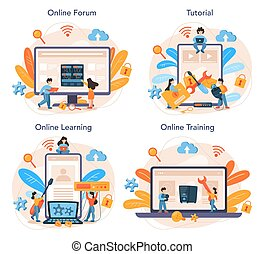 System administrator online service or platform set. People working on computer and doing technical work with server. Online forum, tutorial, learning, training. Isolated flat vector illustration
