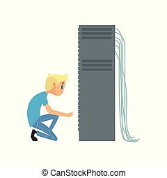 System administrator or network engineer working in data center, network engineer involved in maintenance of system modules cartoon vector illustration
