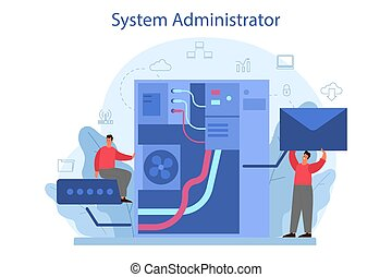 System administrator. People working on computer and doing technical work with server. Configuration of computer systems and networks. Isolated flat vector illustration