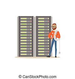 System administrator, server admin, programmer working with hardware equipment of data center, server maintenance support vector illustration