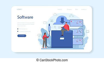 System administrator web banner or landing page. People working on computer and doing technical work with server. Configuration of computer systems and networks. Isolated flat vector illustration