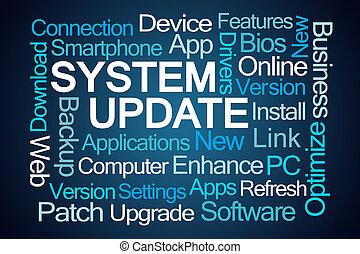 system, aktualisierung, wort, wolke