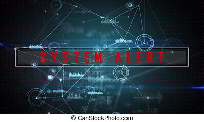 System alert text against web of connections - Animation of ...