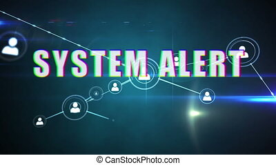 System alert text with 3D profile icons network - Animation ...
