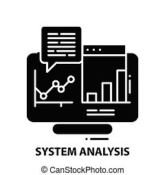 system analysis icon, black vector sign with editable strokes, concept illustration