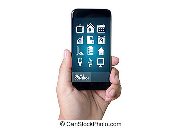system app Remote home control system on phone Real estate concept