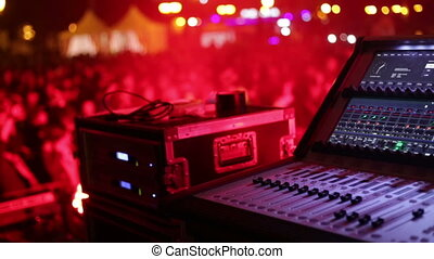 System audio panel at the night disco. - System audio panel...