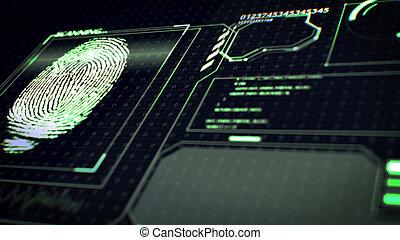 system., explorador, identificación, huella digital