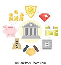 system., lägenhet, stil, illustration, bankrörelse
