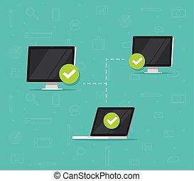 system, lejlighed, firmanavnet, vektor, netværk, illustration, adgang, laptop computere, netværk, desktop, trådløs, pc., sammenhænge, computer, forbundet, kommunikation, cartoon, mellem