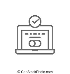 System login, laptop with check mark, computer password verification, user authorization line icon.