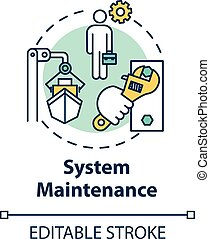 System maintenance concept icon. Shipbuilding worker. Boat in dry dock. Ship maintenance engineer. Watercraft idea thin line illustration. Vector isolated outline RGB color drawing. Editable stroke