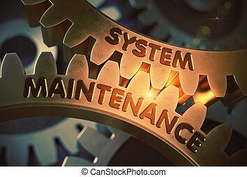 System Maintenance on Golden Cogwheels. 3D Illustration.