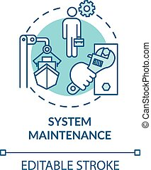 System maintenance turquoise concept icon. Shipbuilding worker. Ship maintenance engineer. Watercraft idea thin line illustration. Vector isolated outline RGB color drawing. Editable stroke