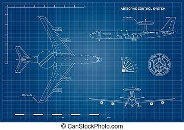 system., militar, aircraft., isolado, controle, exército, desenho, lado, frente, aerotransportado, blueprint, topo, avião, industrial, aviso, esboço, jato, vista.