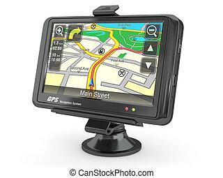 system., navigatie, gps., 3d