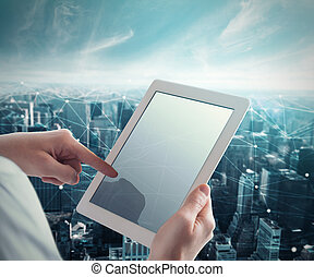 System of network with tablet - Man touches the tablet with ...