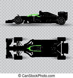 System of pilot defense of a sports car, dark silhouette of a racing car isolated on checkered background. Top view and side view.