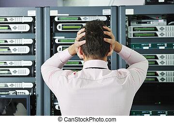 system, rum, misslyckas, nätverk, läge, servare