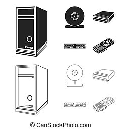 System unit, memory card and other equipment. Personal computer set collection icons in black, outline style bitmap symbol stock illustration web.