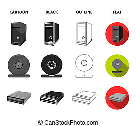 System unit, memory card and other equipment. Personal computer set collection icons in cartoon, black, outline, flat style bitmap symbol stock illustration web.
