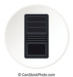 System unit of computer icon, flat style