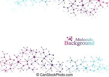 system., vecteur, concept, atome, structure, monde médical, illusion, connecté, molécule, toile fond., neurons., illustration., arrière-plan., communication, scientifique, dots., nerveux, adn, lignes