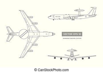system., wojskowy, aircraft., odizolowany, panowanie, armia, rysunek, bok, przód, airborne, plan, górny, samolot, przemysłowy, ostrzeżenie, szkic, gagat, prospekt.