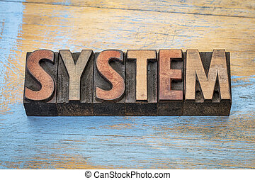 system word abstract in wood type